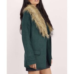 TOBI Forest Green Faux Fur Coat XS